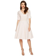 Unique Vintage Delores Swing Dress White Red Dot Women's Dress Pink