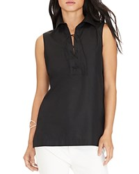 Lauren Ralph Lauren Lace Up Sleeveless Shirt Black