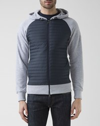 Colmar Blue And Grey Padded Mixed Jersey Hoody