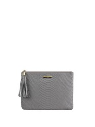 Gigi New York All In One Python Embossed Leather Clutch Spruce Tan Bone Slate
