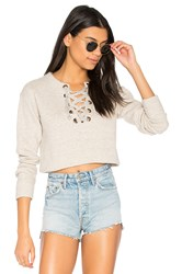 Mother The Tie Up Easy Crop Sweatshirt Beige