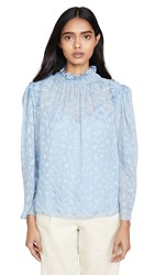 Rebecca Taylor Long Sleeve Leo Clip Top Robin's Egg Blue