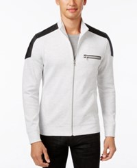 Inc International Concepts Men's Ribbed Zip Front Jacket With Faux Leather Trim Only At Macy's Whispy Grey