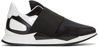 Givenchy Black And White Elastic Strap Slip On Sneakers