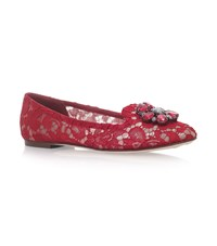 Dolce And Gabbana Lace Vally Embellished Slippers Red