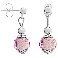 Martick Murano Glass Drop Earrings Silver Plum