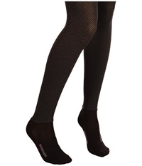 Bootights Opaque Sophisticated Herringbone Tight Ankle Sock Black Heather Grey Hose
