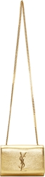 Saint Laurent Gold Leather Small Monogram Chain Bag