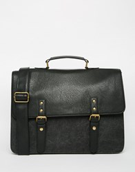 Asos Smart Satchel In Washed Canvas Black