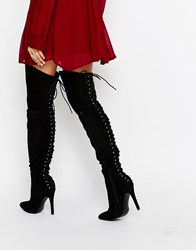 Truffle Collection Lace Up Back High Heeled Boots Black Mf