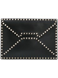 Valentino Garavani Rockstud Clutch Men Calf Leather Metal One Size Black