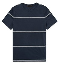 Michael Kors Slim Fit Striped Pima Cotton T Shirt Navy