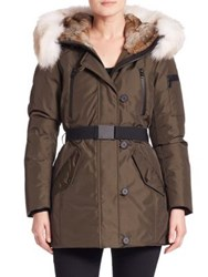 Andrew Marc New York Fur Trim Belted Down Parka White
