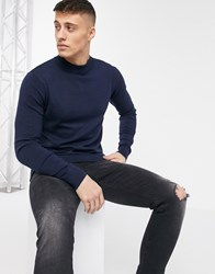 Brave Soul 100 Cotton Turtleneck Sweater In Navy
