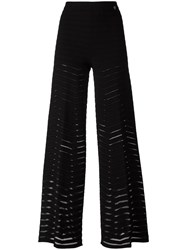 Twin Set Sheer Stripes Palazzo Pants Black