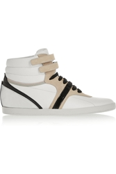 Sergio Rossi Paneled Leather And Suede Wedge Sneakers White
