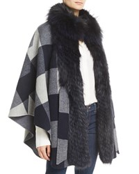 Belle Fare Belted Check Cape W Fur Collar Navy