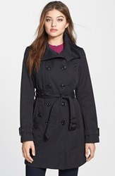 Women's London Fog Double Breasted Trench Coat With Detachable Liner Black