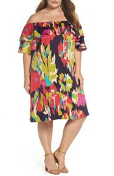 London Times Plus Size Women's Double Ruffle Off The Shoulder Dress Dark Eggplant Red