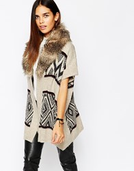 Warehouse Printed Cardigan With Faux Fur Collar Multi