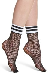 Treasure And Bond Varsity Stripe Fishnet Crew Socks Black
