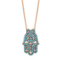 Lucky Eyes Turquoise Hamsa Hand Necklace Rose Gold