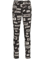 Moschino High Waisted Printed Cotton Blend Skinny Jeans Black