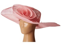 Scala Sinamay Split Brim With Flower And Feather Trim Pink Caps