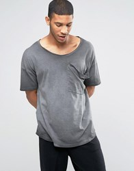 Asos Oversized Longline T Shirt With Drape Pocket And Scoop Neck In Pigment Dye Grey