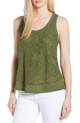 Gibson Racerback Lace Front Tank Green