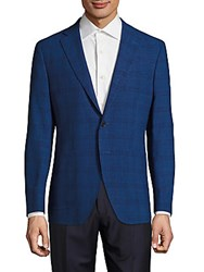 Saks Fifth Avenue Made In Italy Modern Fit Wool And Linen Plaid Jacket Blue
