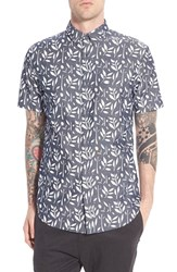 Men's Zanerobe 'Twig Seven' Trim Fit Leaf Print Short Sleeve Sport Shirt