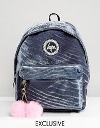 Hype Exclusive Grey Velvet Backpack With Pink Pom Grey