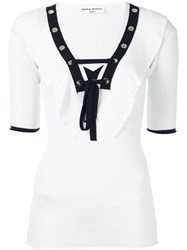 Sonia Rykiel Laced Eyelet Top White