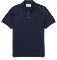 Gucci Appliqued Cotton Pique Polo Shirt Blue