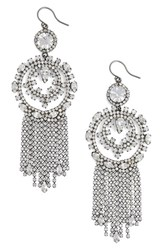 Cristabelle Women's Circle Fringe Drop Earrings