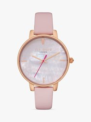 Ted Baker Te50272006 'S Kate Leather Strap Watch Pink Pearl