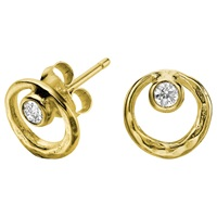Dower And Hall 18Ct Vermeil Circle Stud Earrings Gold White Topaz