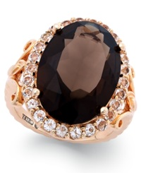 Victoria Townsend Smoky Quartz 10 3 4 Ct. T.W. And White Topaz 1 Ct. T.W. Cocktail Ring In 18K Rose Gold Over Sterling Silver