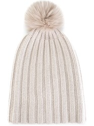 Danielapi Pompom Ribbed Beanie Nude And Neutrals