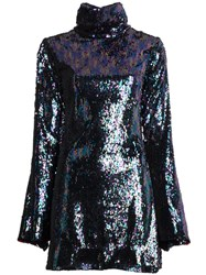 Halpern Mini Fitted Sequin Dress Black
