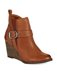 Lucky Brand Yiski Wedge Booties Brown