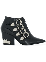 Toga Pulla Buckled Ankle Boots Leather Black