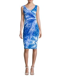 La Petite Robe Di Chiara Boni Naomi Printed Faux Wrap Sheath Dress Blue Fairy Tale Blue
