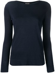 Loro Piana Boat Neck Knitted Top Blue