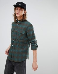Brixton Bowery Flannel Checked Shirt In Standard Fit Blue