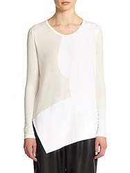 Tess Giberson Pieced Asymmetrical Top White
