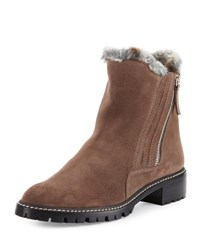 Stuart Weitzman Stormy Faux Fur Side Zip Boot Seal Seal Velour