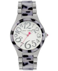Betsey Johnson Women's Stainless Steel And Snow Leopard Bracelet Watch 40Mm Bj00510 01 No Color