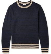 Dries Van Noten Jacquard Knit Cashmere Blend Sweater Blue